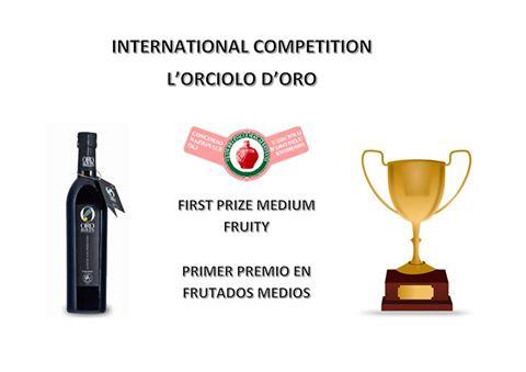 Oro Bailen Reserva Familiar Picual obtiene PRIMER PREMIO concurso internacional L'Orciolo d'Oro, categoría de frutados medios.