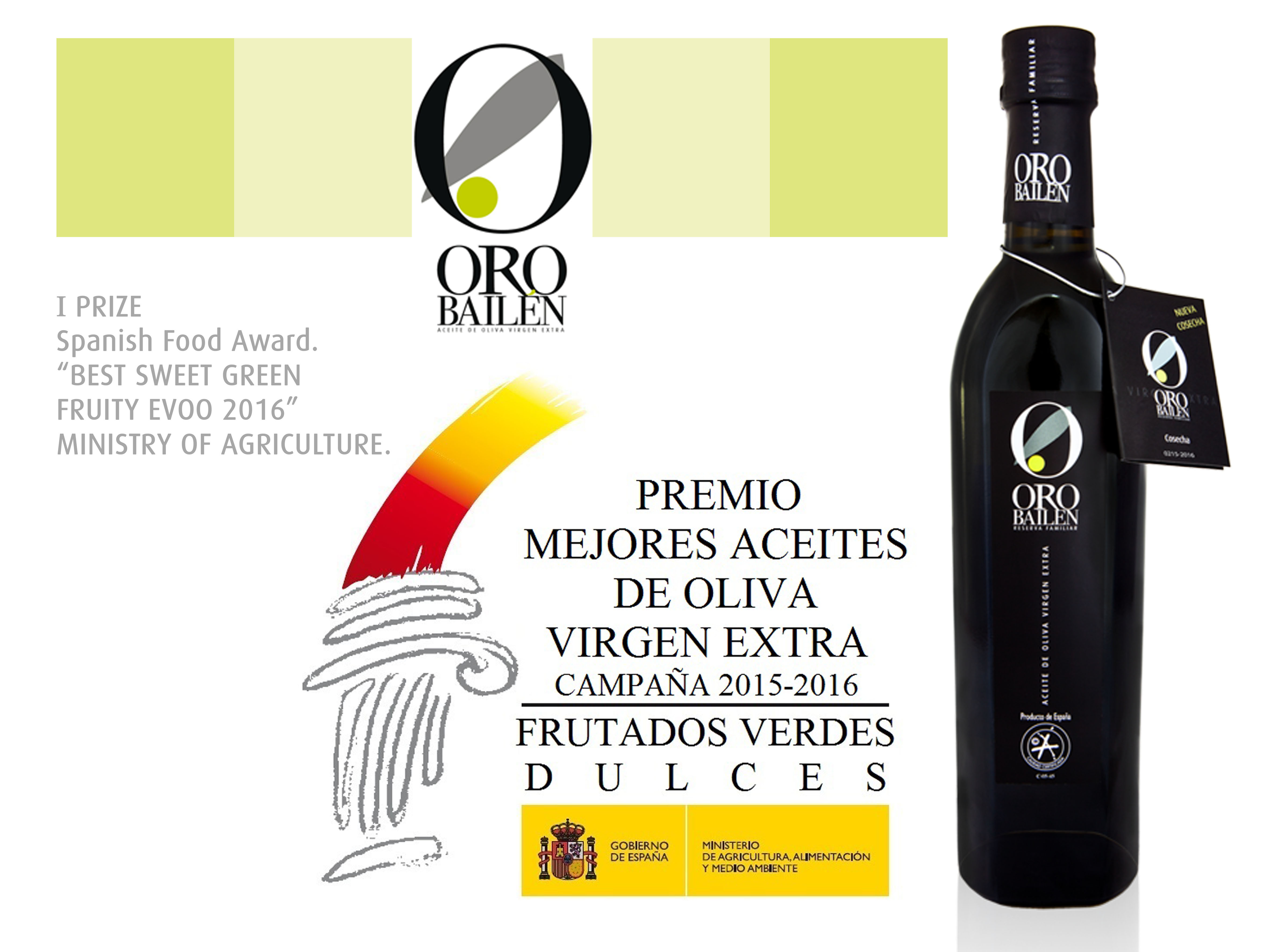 Ministry Of Agriculture Prize To The Best Evoo 2015 2016 Oro Bailén Aceite De Oliva Virgen Extra
