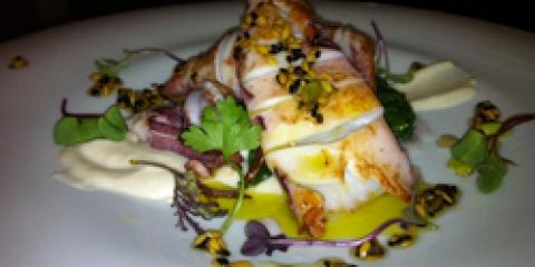 receta calamar con emulsión de aceite de oliva virgen extra (AOVE)